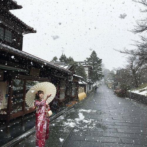 Снежные чудеса в Японии, Киото в снегу