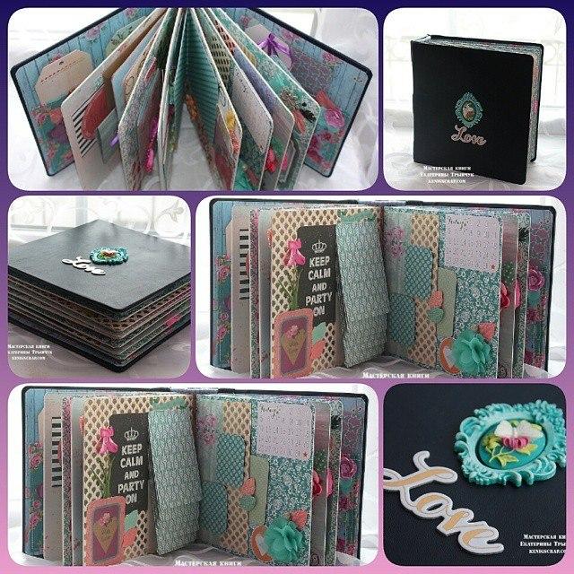 Кожаный альбом в объемном переплете с двухцветным капталом