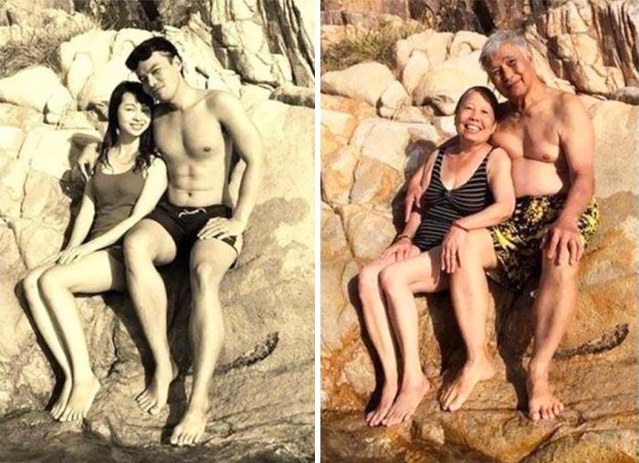 «Мои родители в Буэнос-Айресе, 1970 и 2010 год».