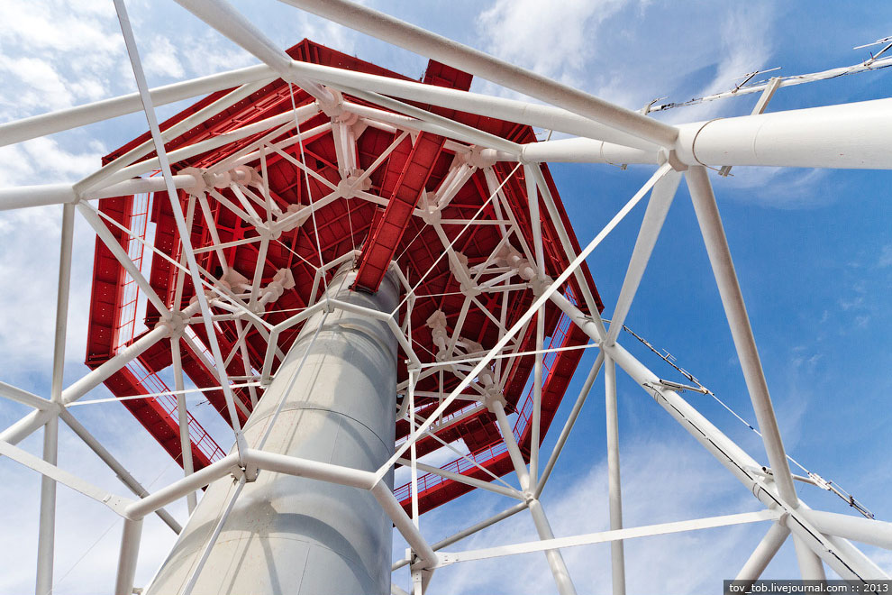 еуду  От отметки 192 м до 201 м на телебашне размещается верхнее техническое строение, имеющ