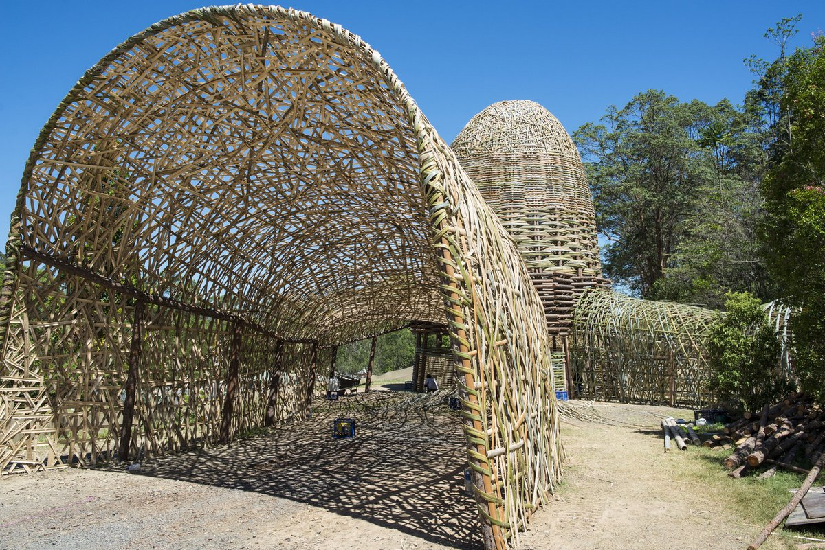 Woven Sky: A Bamboo Tunnel Installation Woven Together Like a Basket by Wang Wen-Chih