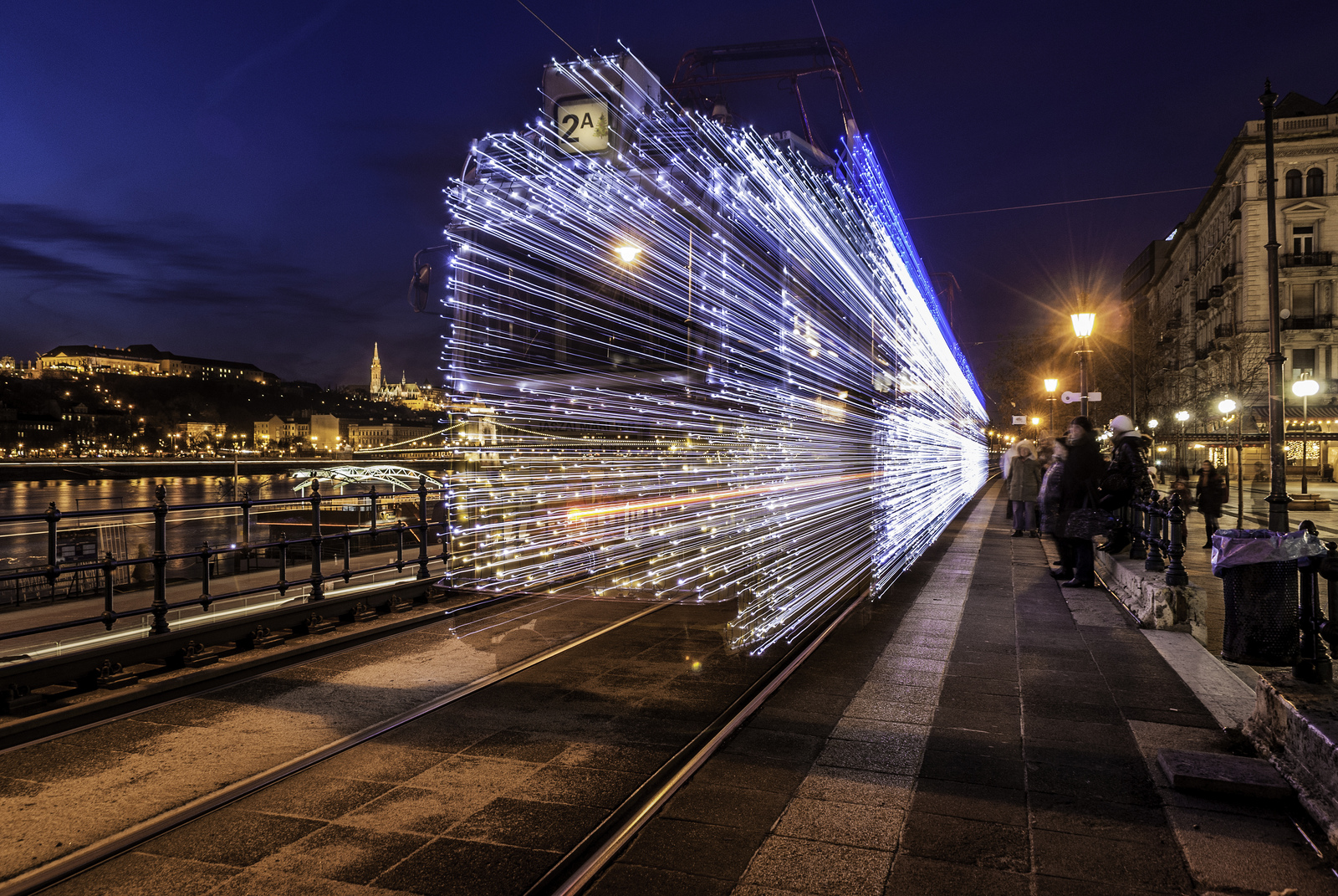 Long Exposure Photos of Budapest Trams Lit Up with 30,000 LED Lights (7 pics)
