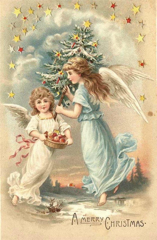 Открытки юбилеем, старые рождественские открытки с ангелами