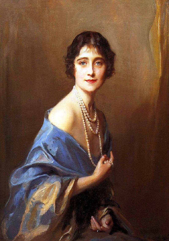 Портрет герцогини Йоркской, будущей королевы Великобритании и матери нынешней королевы Елизаветы II, 1925 год..jpg