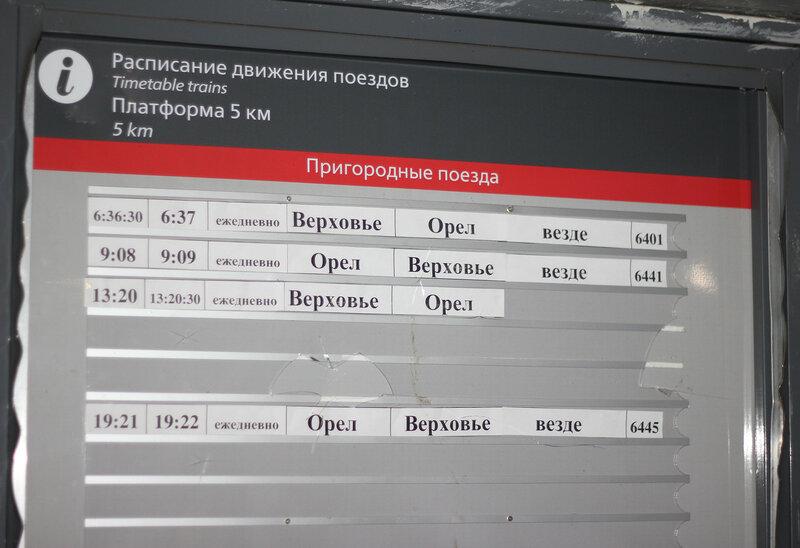 Платформа 5 км перегона Орёл - Кузьмичёвка, расписание