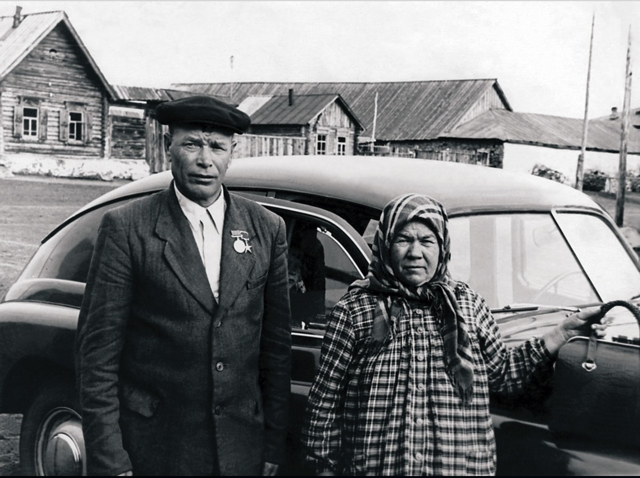 Комбайнер МТС Прохор Андриянович Буторин с женой
