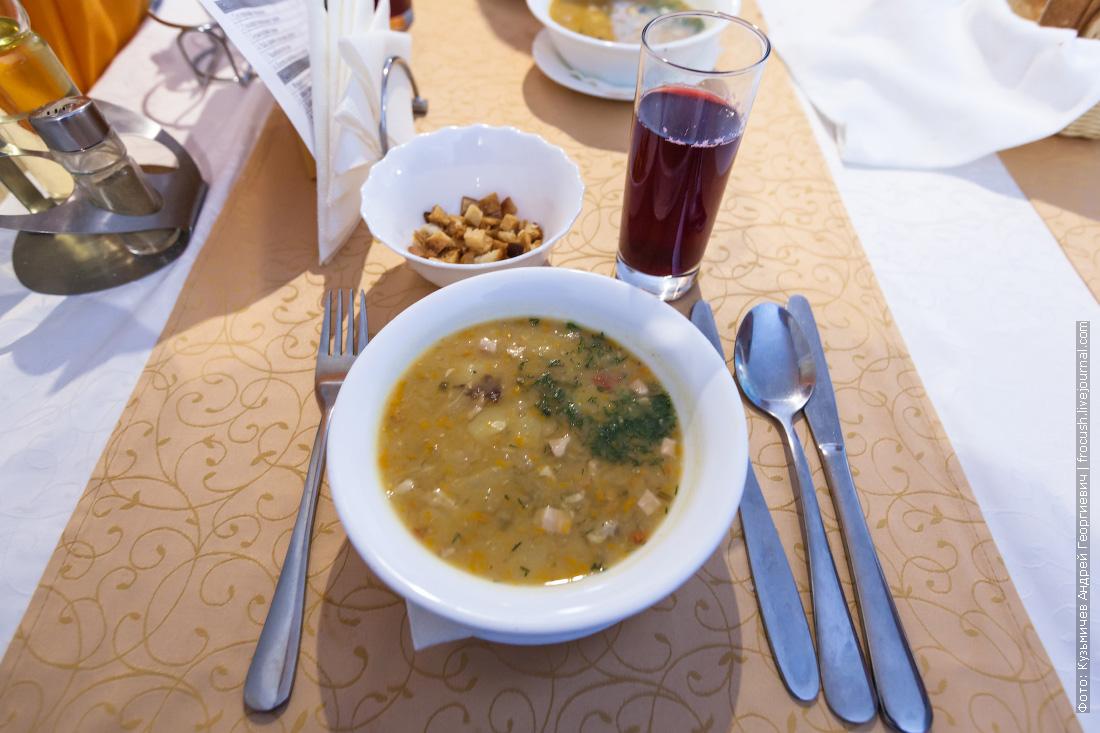 Суп гороховый с мясом и копченостями