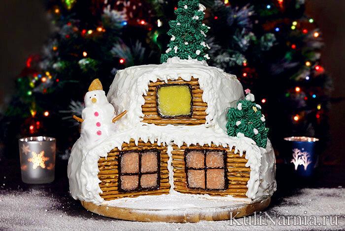 Как приготовить сложный двухъярусный торт «Зимняя избушка»