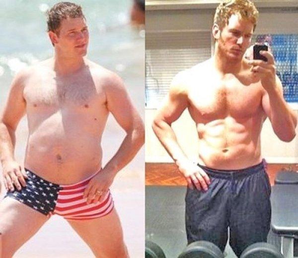 Крис Пратт до и после того , как занялся собой. Поделитесь этим постом с друзьями!
