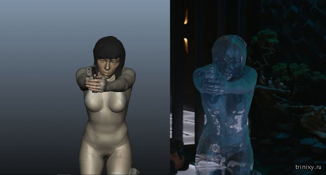 Кадры из фильма Призрак в доспехах - до и после обработки
