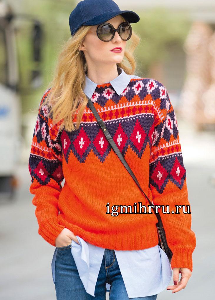 Яркий оранжевый пуловер с жаккардовой кокеткой. Вязание спицами