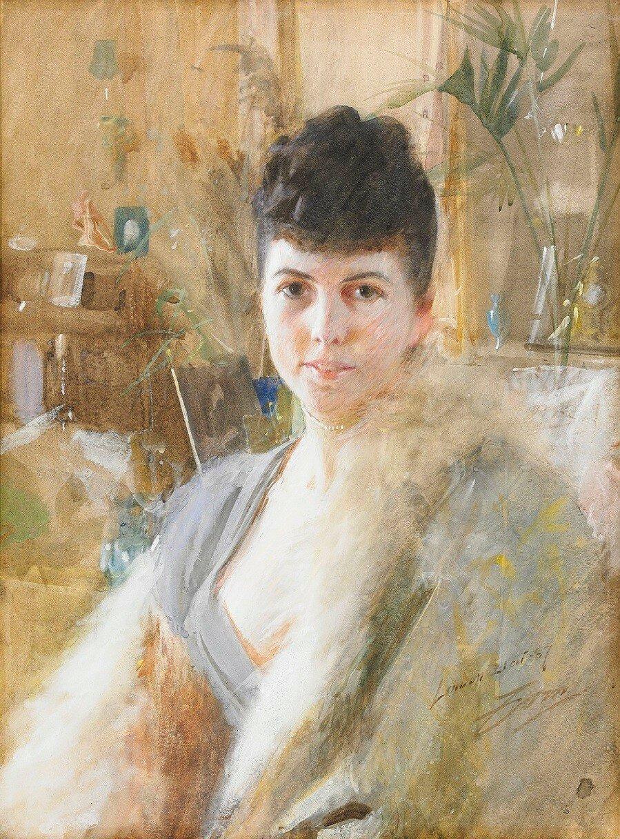 1887 Портрет дамы в гостиной (Portrait of a Lady in a Drawing Room) бумага, карандаш, акварель и корпусная краска Частное собрание