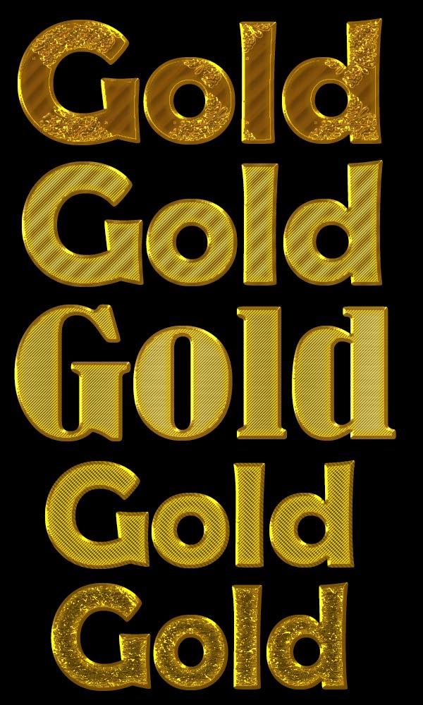 Текстовые стили: металл и золото