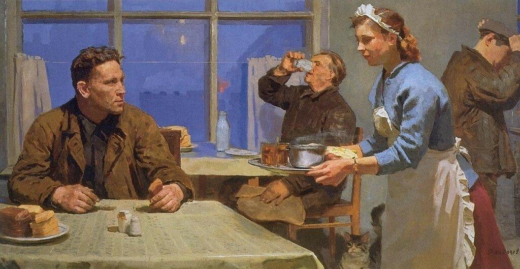 Кобозев Руслан Андреевич (Россия, 1927-1995) «В столовой» 1960.