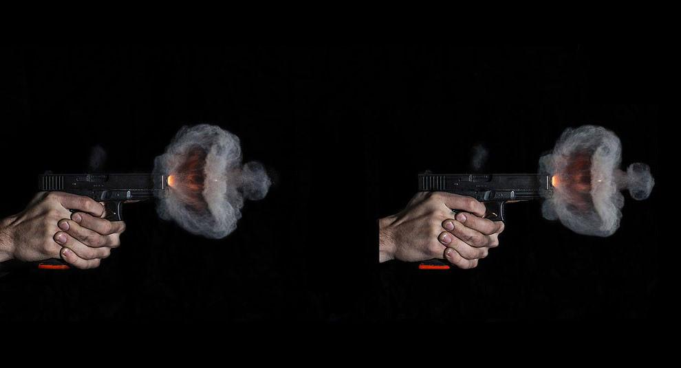 Начальный момент выстрела из винтовки AR-15: