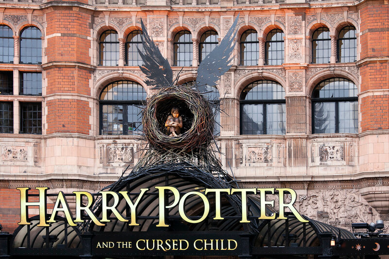 Front of The Palace Theatre in London with large advertisement for Harry Potter and the Cursed Child play 12th November 2016 The Palace Theatre London Harry Potter and the Cursed Child play