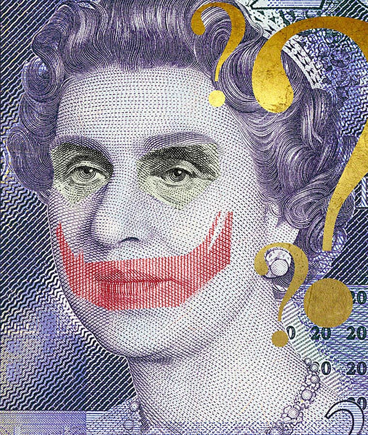 Facebank - Bank notes defaced into ironic superheroes against crisis
