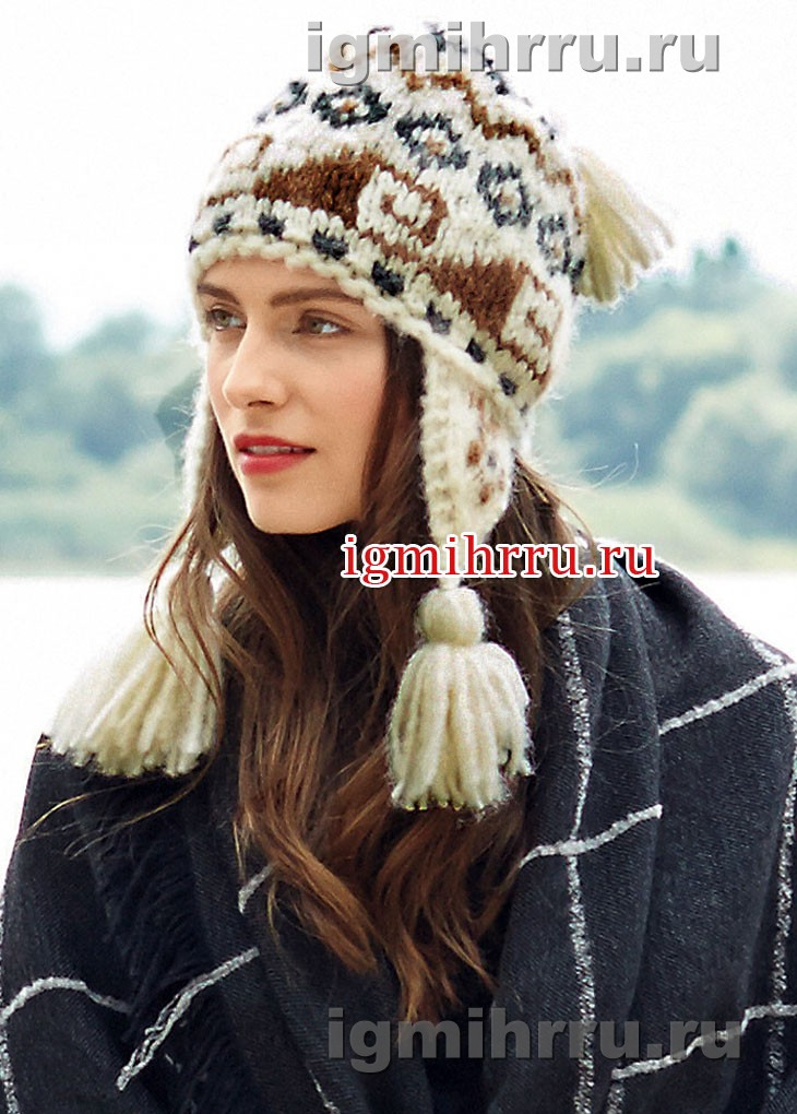 Перуанская шапочка в пастельных тонах. Вязание спицами