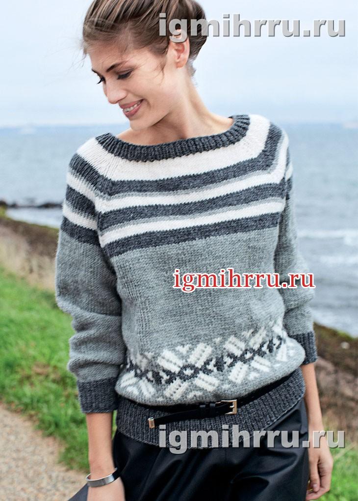 Пуловер с полосатой кокеткой и норвежскими звездами. Вязание спицами