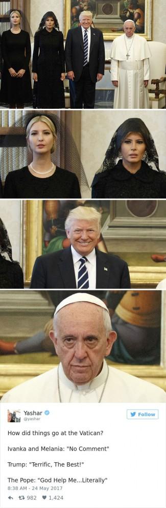 Визит Дональда Трампа в Ватикан: социальные сети потешаются над реакцией Папы Франциска