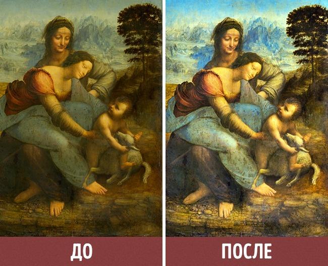 © wikipedia  Работа Леонардо даВинчи «Святая Анна сМадонной имладенцем Христом» после реста