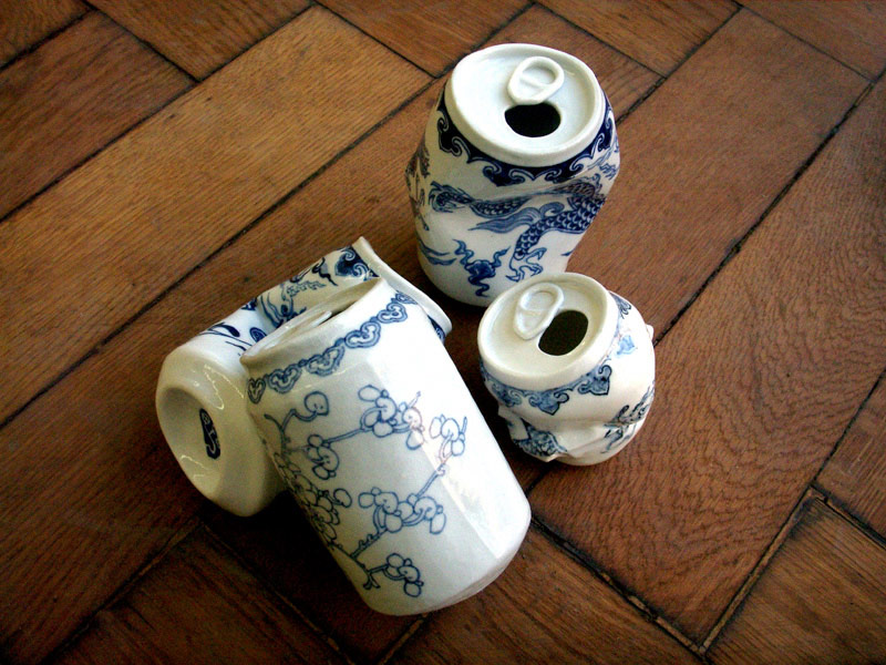 Smashed Can Sculptures That Mimic Traditional Ming Dynasty Porcelain by Lei Xue