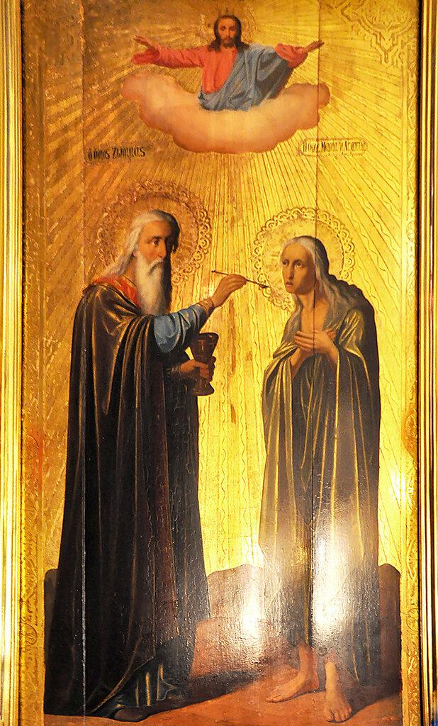 Икона причастия старцем Зосимой преп. Марии Египетской в верхнем храме монастыря Герасима Иорданского