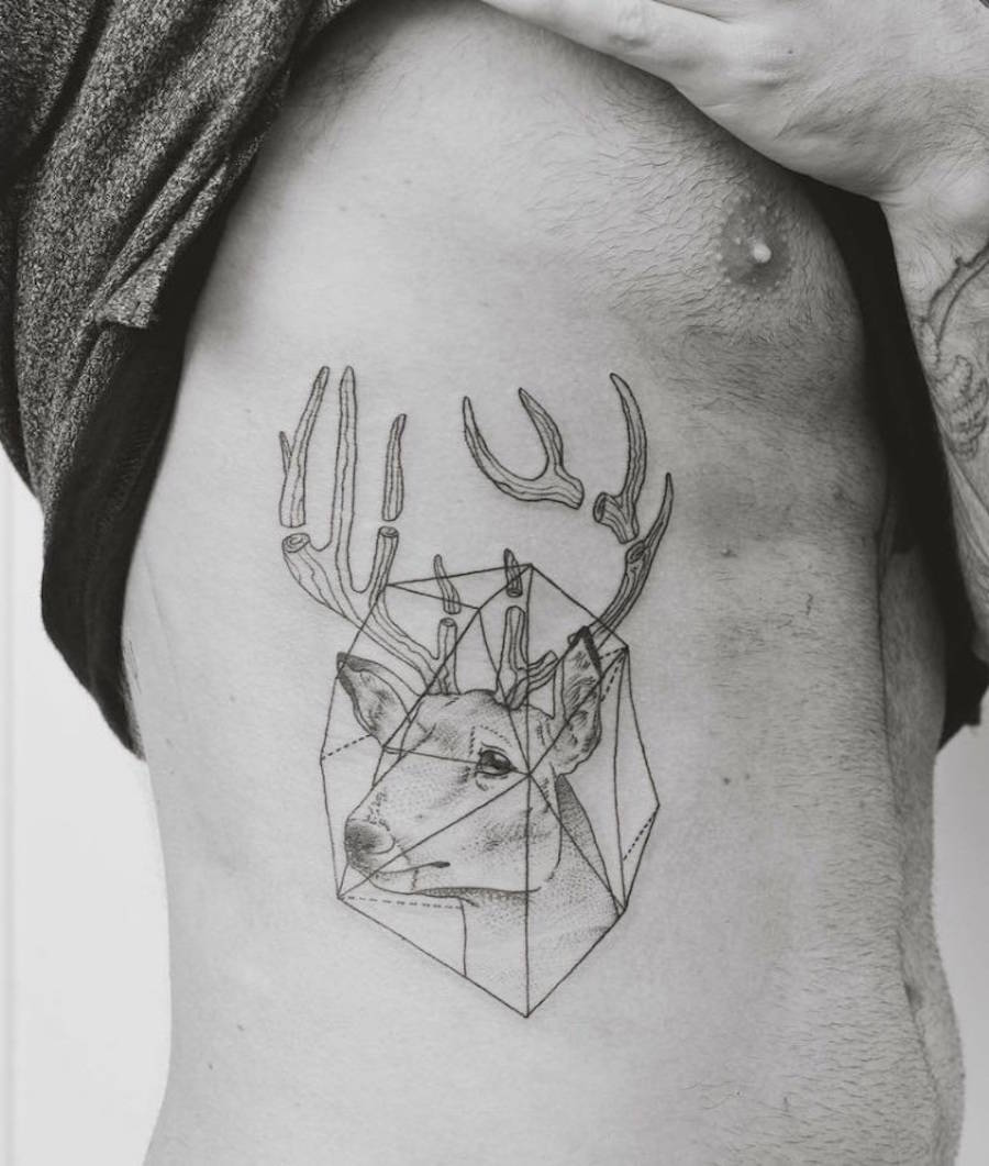Memesmerizing Tattoos Mixing Geometry and Nature Items