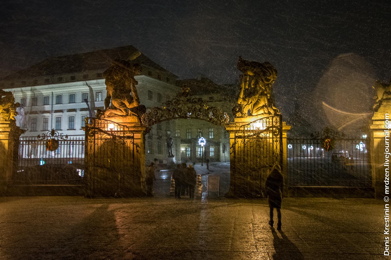 Пражский град, Очень снежно.