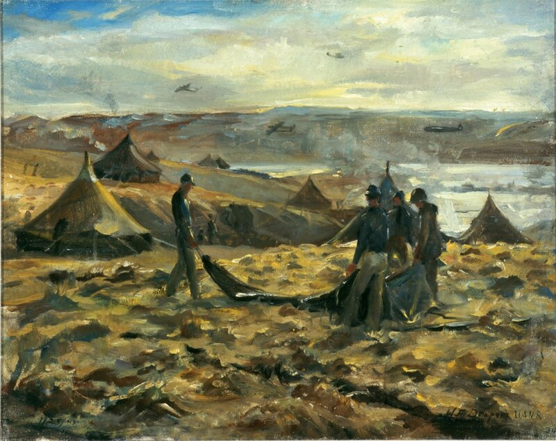 William F. Draper - Aleutian Home (Pitching the First Navy Tent) (1942) Near the mushrooming Army encampment, the competent Seabees pitch the first Navy tent on the desolate northern tundra.