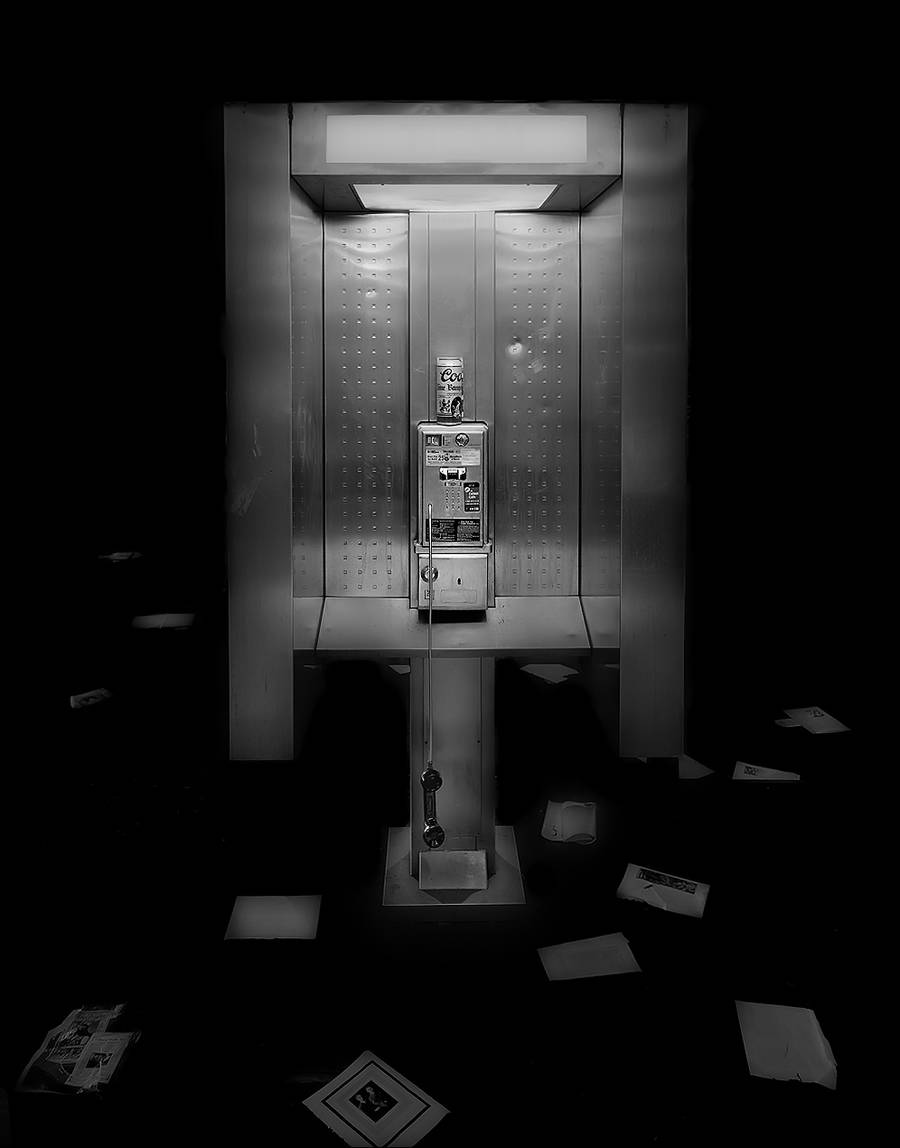 Empty Phone Boxes in Black and White