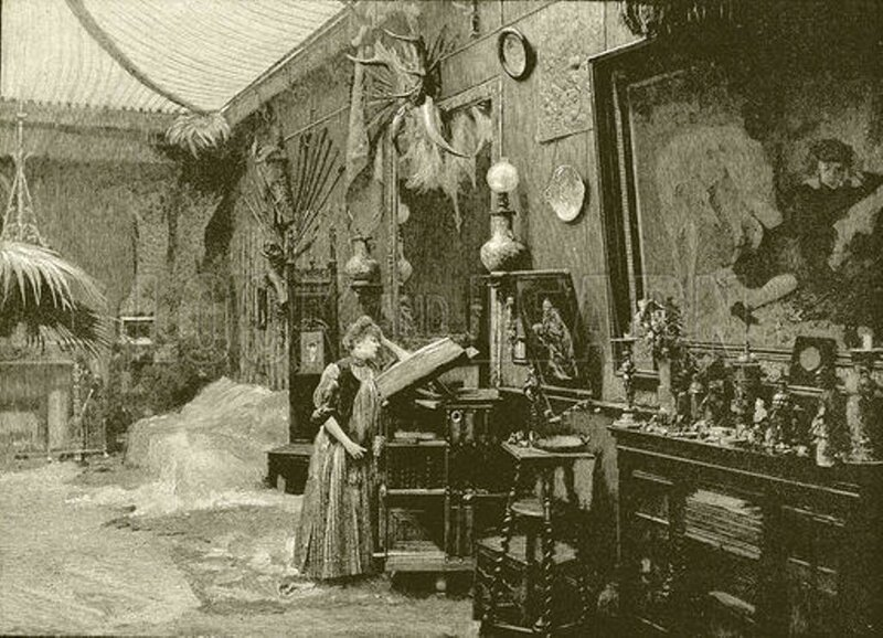 Sarah Bernhardt in her studio.  Illustration from The Picture Magazine (George Newnes), 1893.