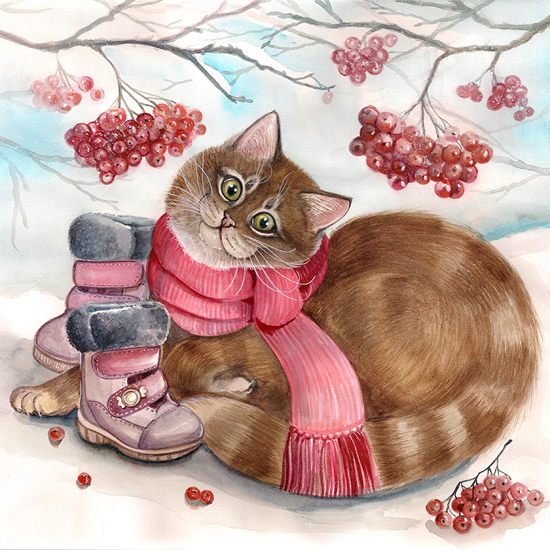 Зимой даже котику нужны ботиночки..jpg