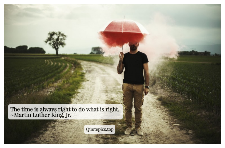 The time is always right to do what is right. ~Martin Luther King, Jr.