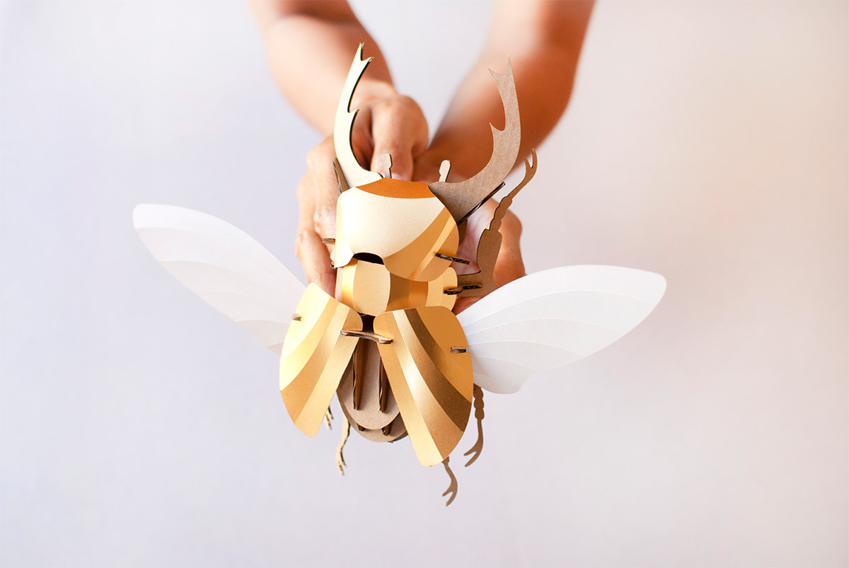 Paper Beetle Sculptures by Assembli