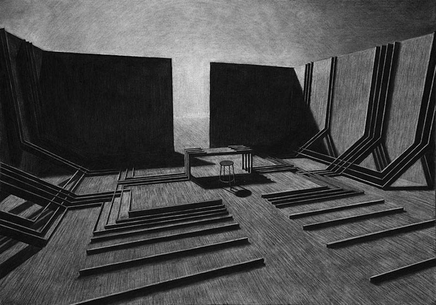 Impressive Charcoal Drawings of Geometric Spaces