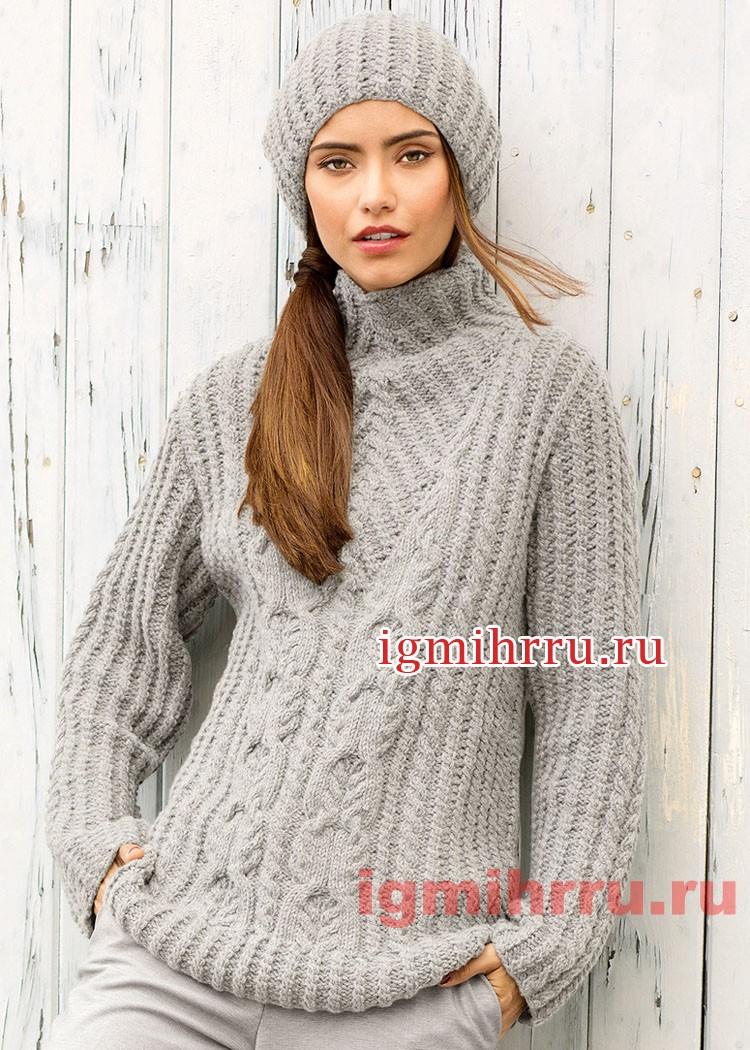 Серый теплый комплект с косами: свитер и шапочка. Вязание спицами