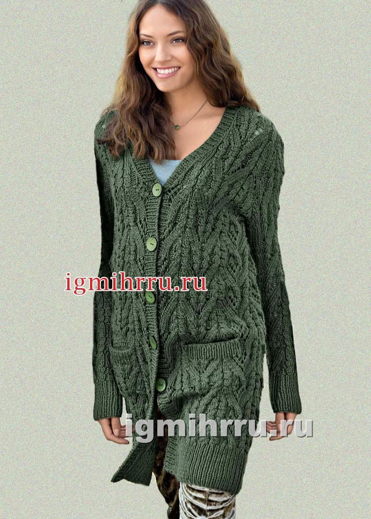 Зеленый удлиненный жакет с карманами. Вязание спицами