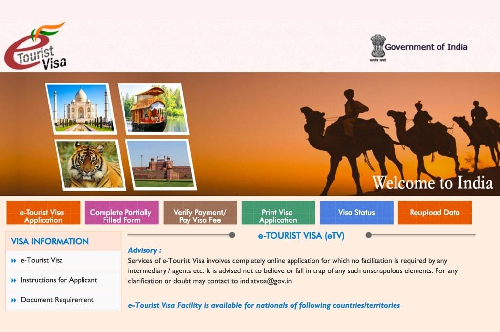 Раздел e-Tourist Visa на сайте IndianVisaOnline