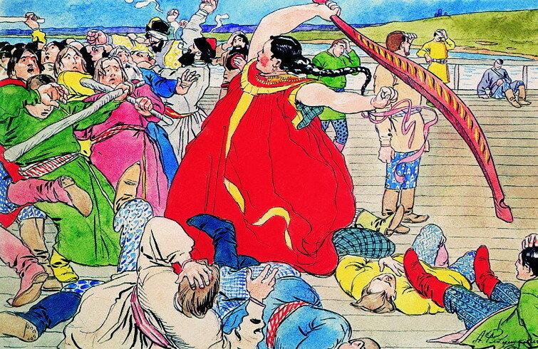 Девушка-чернавушка побивает мужиков новгородских. 1898.jpg