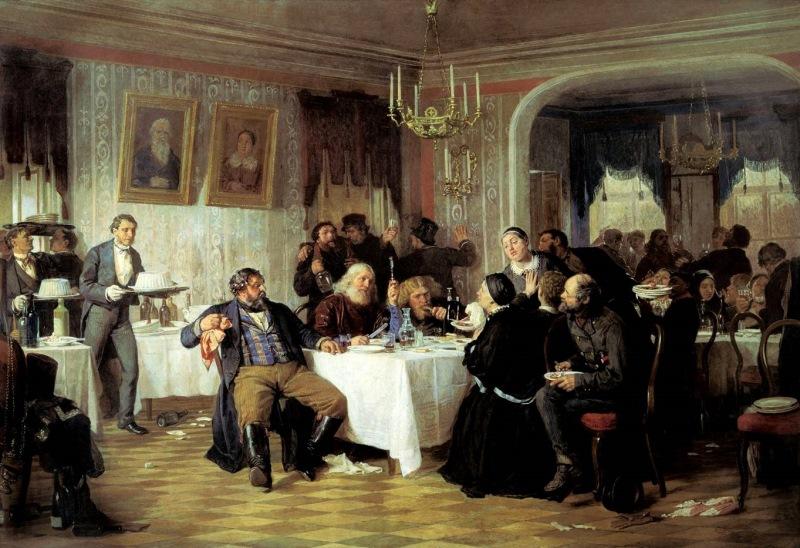 Николай Неврев — «Протодиакон, провозглашающий на купеческих именинах долголетие » (1866 год) Как ви