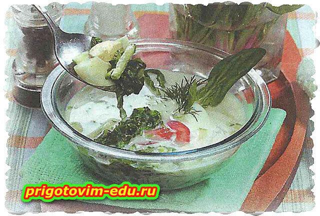 Холодник зеленый с яйцом и помидорам