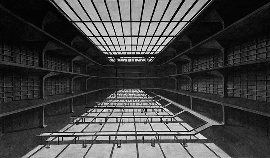 Impressive Charcoal Drawings of Geometric Spaces (12 pics)