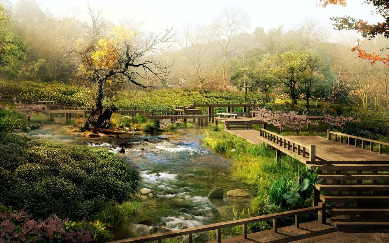 Летний японский садик