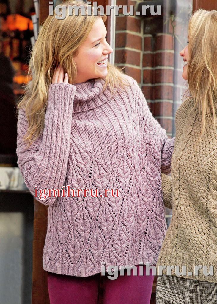 Сиреневый свитер с ажурным узором. Вязание спицами