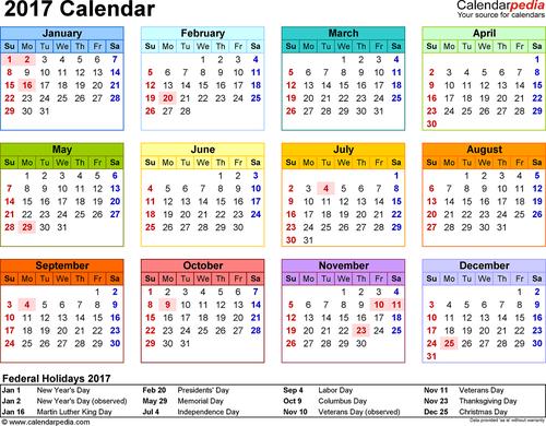 2017 английский календарь