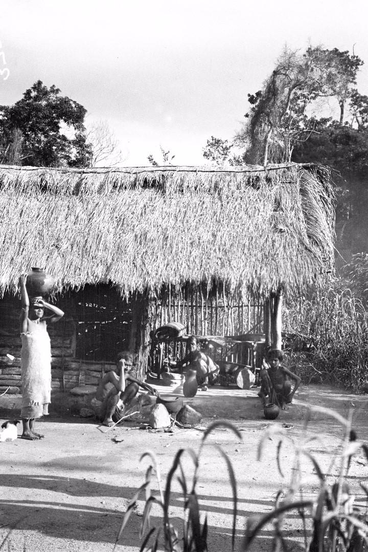 358. Мадугалла. Приготовление лесными веддами пищи возле хижины