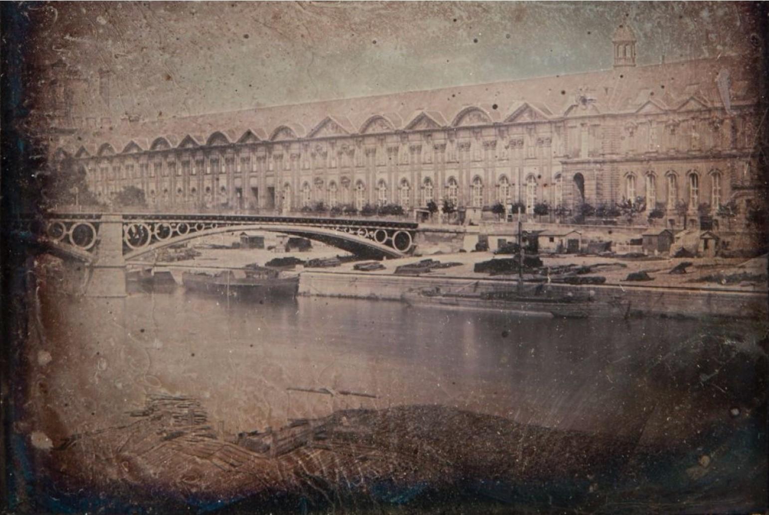 1840. Мост Каррузель и Большая галерея Лувра
