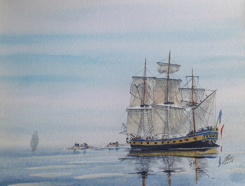 Becalmed, ships boats towing 'Mother' in pursuit of a Privateer.