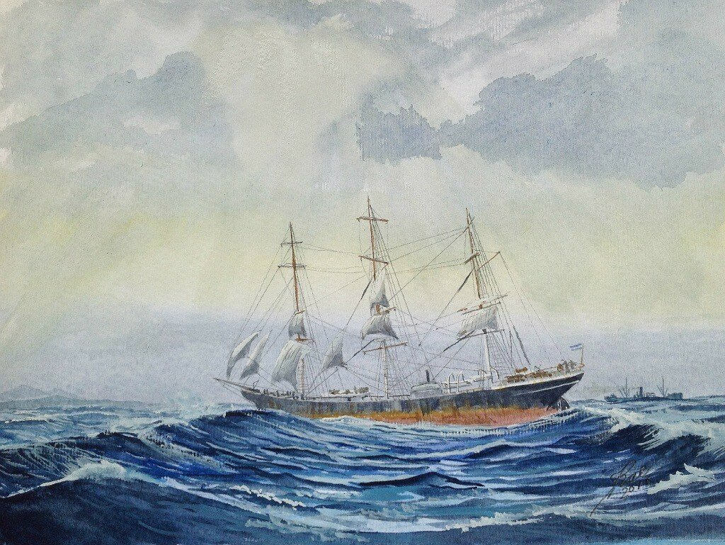 The Ship 'Fortuna' under the Argentinian Flag. Lost when a cargo of coal went on fire off Ireland.